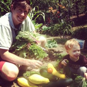Drew and Asher with Harvest