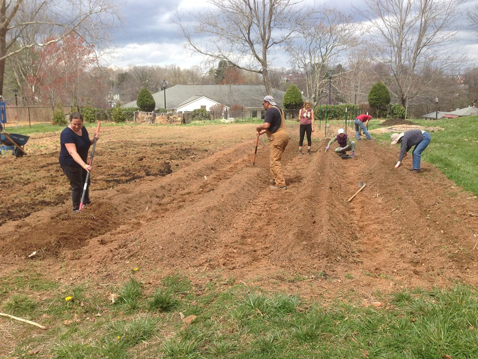Volunteers prepping Southside Community Garden