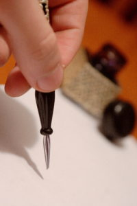 Old style hand writing kit with precious glass pen and ink