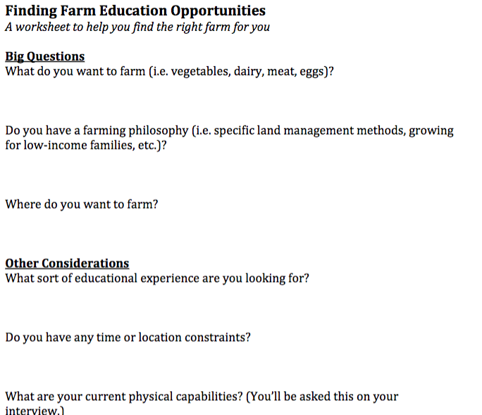 Finding Farm Education Opportunities