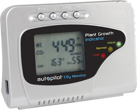 Gray CO2 monitor with an interface that measures CO2 in parts per million, temperature, and humidity range with colored lights that indicate low (red), normal (yellow), and ideal (green)