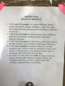List of Rules of Respect at Soul Fire Farm