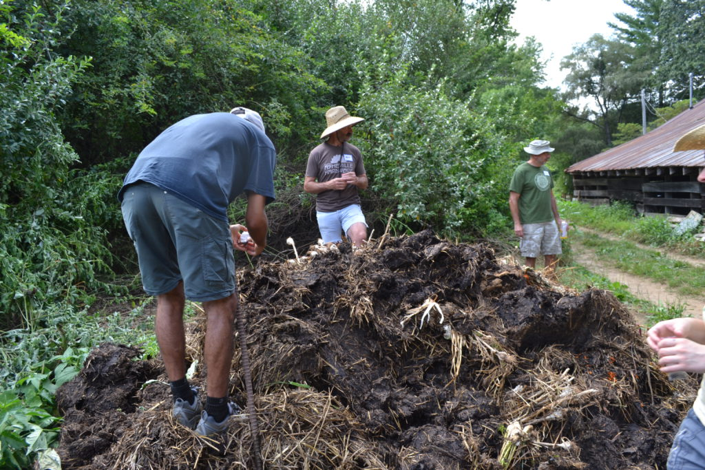 CRAFT participants adding biodynamic preparations to a compost pile.