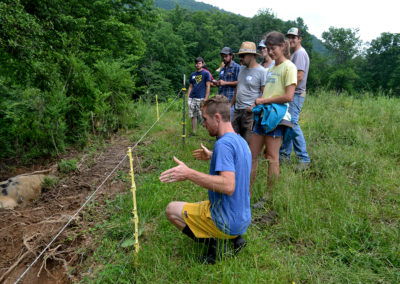 Walker Sides Leading a Tour of Hickory Nut Gap Farm